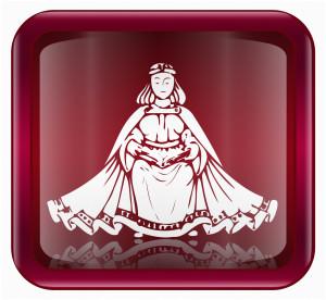 Virgo zodiac icon, isolated on white background